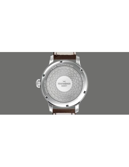 Meistersinger N°01 quadrante Argento - acciaio su cinturino in pelle - 43 mm - ref. AM3301