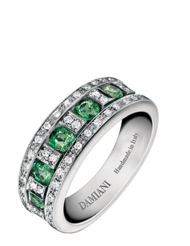 Damiani Belle Epoque Anello in oro bianco con smeraldi (ct 0.65)  e diamanti(ct 0.20) ref 20039701