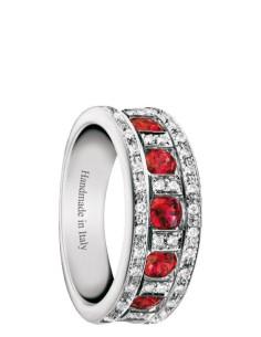 Damiani Belle Epoque Anello in oro bianco con rubini (ct 0.85)  e diamanti(ct 0.20) ref 20039700