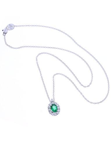 nuovi stili a121a fad67 DAMIANI CLASSIC collana in oro bianco, smeraldo 0.76 ct e diamanti 0.44 ct