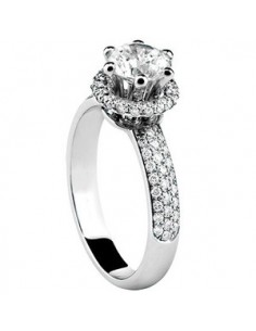 DAMIANI MINOU ANELLO IN ORO BIANCO CON DIAMANTE 0.40 ct FULL PAVE