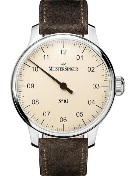 Meistersinger N°01 quadrante Avorio - acciaio su cinturino in pelle - 43 mm - ref. AM3303