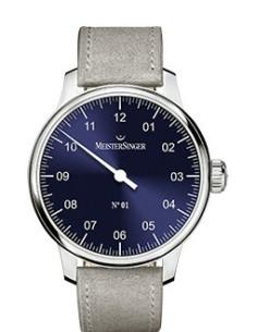 Meistersinger N°01 quadrante blu - acciaio su cinturino in pelle - 43 mm - ref. AM3308