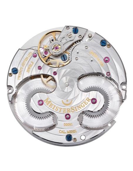 Meistersinger Circularis quadrante Antracite- acciaio su cinturino in pelle - 43 mm - ref. CC327G