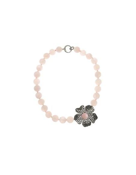 Misis Magnolia Collana Argento rodiato anticato Siliconite Cristallo rosa Quarzo rosa CA07883R