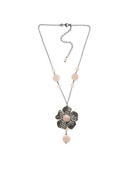 Misis Magnolia Collana Argento rodiato anticato Siliconite Cristallo rosa Quarzo rosa CA07887R
